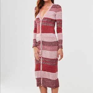 Forever 21 Red and Pink Stripe Sweater Dress